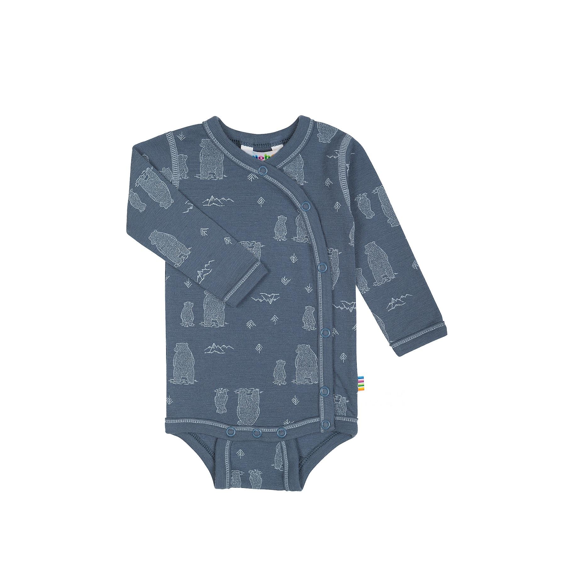 e9a511c29f1 Body til for tidligt født - Lange ærmer og slå om - Blå uld med print