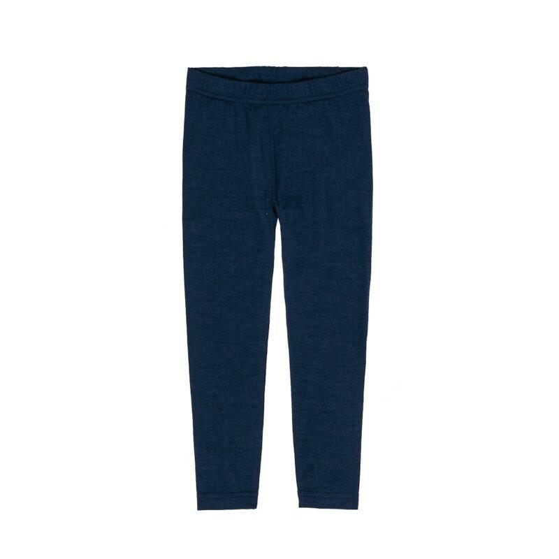 Natbukser til dreng i uld silke. Kan bruges som skiunderbukser. Mørkeblå. Oeko-Tex. Hust & Claire.