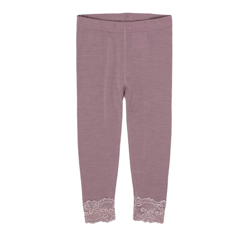 Leggings til pige i uld silke. Støvet rosa og bed fin blondekant ved fødderne. Oeko-Tex. HUst & Claire.