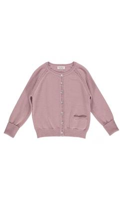 MarMar cardigan med lomme og hulmønster. Støvet rosa uld bomuld.