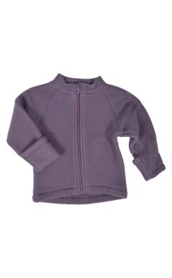 Mikk-Line jakke i softuld. Jakken har folde om ved ærmer. Mørk rosa.