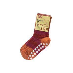 Strømper med dutter. Tykke strømper i rød uld fra Hirsch.