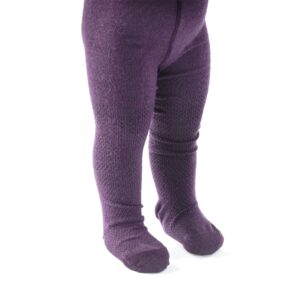 Strømpebukser med mønster på benene. Lilla uld. SmallStuff.