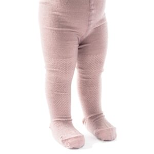 Strømpebukser med mønster på benene. Rosa uld. SmallStuff.