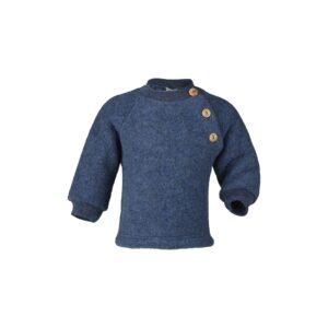 Uld trøje i uldfleece. Økologisk uld fra Engel. Blå.