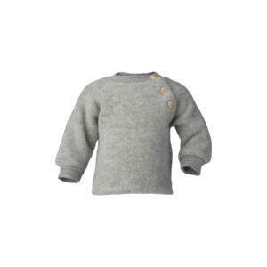 Uld trøje i uldfleece. Økologisk uld fra Engel. Grå.