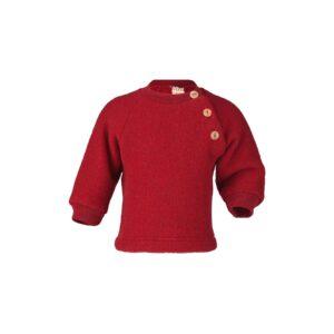 Uld trøje i uldfleece. Økologisk uld fra Engel. Rød.