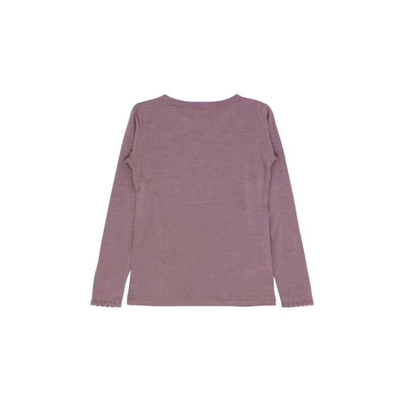 Nattrøje til pige i rosa uld silke. Kan også bruges som tynd trøje eller til skiundertøj. Blondekanter ved ærmer. Bagsiden.