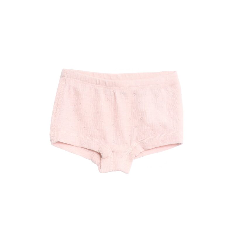 Wheat hipster underbukser til pige i rosa uld. Har fint hulmønster.