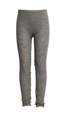 Leggings fra Wheat. Leggings er i 100% merinould. Elastisk rib. Grå melange.