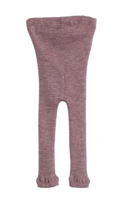 Uld leggings fra Wheat. Mørk lilla leggings. Oeko-Tex. Bagsiden.