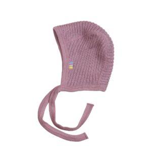 Baby hjelm fra Joha i rosa ribstrik i 100% uld, Svanemærket