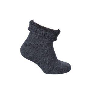 Babystrømpe med frotté indvendig. Strømpe i uld til baby. Mørkegrå blød tyk strømpe med glimmer. Melton.