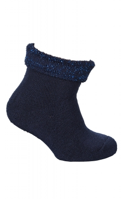 Babystrømpe med frotté indvendig. Strømpe i uld til baby. Mørkeblå blød tyk strømpe med glimmer. Melton.
