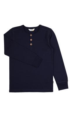 Langærmet mørkeblå bluse i 100% merinould. Svanemærket fra Joha.