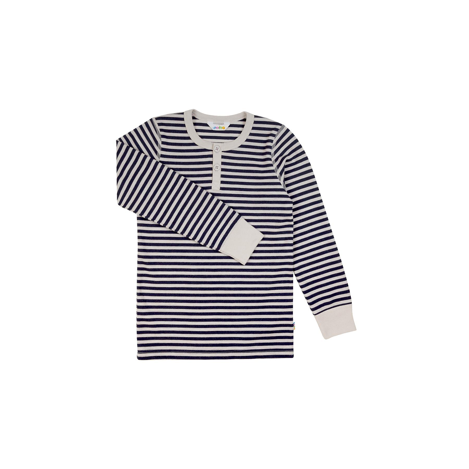 d0bddc1c Langærmet bluse i uld bomuld - Stribet mørkeblå og lysegrå - Joha