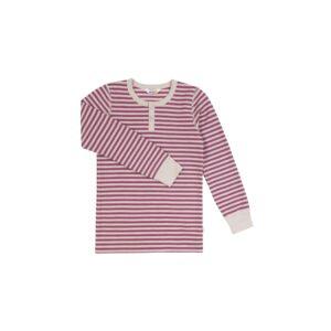 Langærmet bluse i uld bomuld. Bomuld på indersiden. Lysegrå og rosa striber. Svanemærket fra Joha.