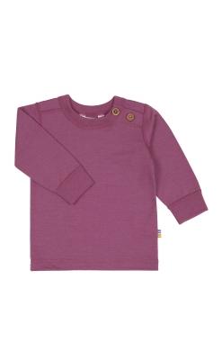 Langærmet bluse til barn. Uld bluse med 2 træknapper i venstre side af skulderen. Rosa svanemærket merinould. Joha.