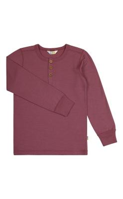 Langærmet rosa bluse i 100% merinould. Svanemærket fra Joha.