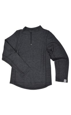 Bluse i mørkegrå uld til børn.. Blusen har lynlås i halsen. Mikk-Line.