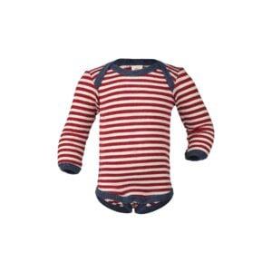 Langærmet body med amerikansk lukning. 100% økologisk GOTS uld. Røde striber. Engel.