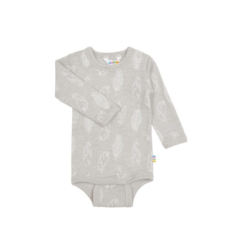 Langærmet body i uld / silke fra Joha - lysegrå med fjer print