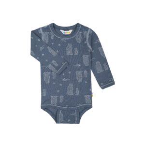 Langærmet body i uld fra Joha med isbjørnetryk -Blå