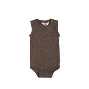 Body ude ærmer i uld / silke - fra Joha Oeko-Tek - Brun