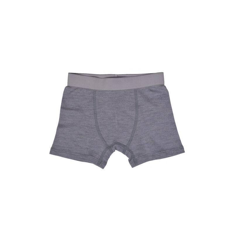 Boxershorts til dreng i uld. Grå underbukser i 100% merinould fra Mikk-Line.