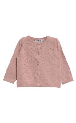 Cardigan med hulmønster. Støvet rosa uld bomuld fra Wheat.