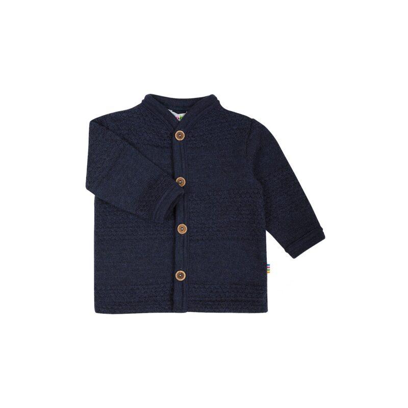 Cardigan i strikket sømandsmønster til barn. Blå uld fra Joha.