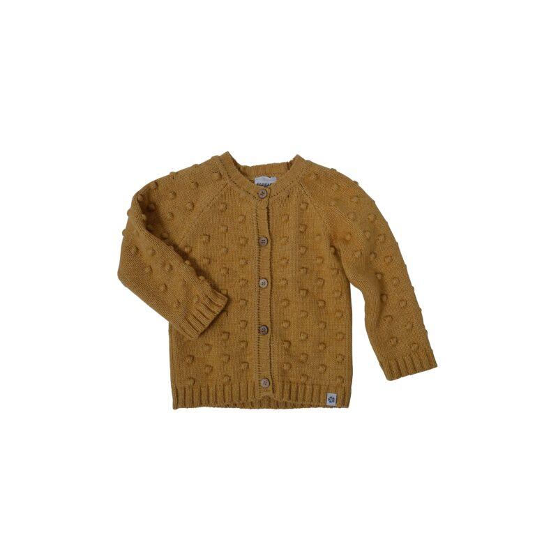 Cardigan i uld / bomuld med strikkede snebolde på fra Papfar - Karry