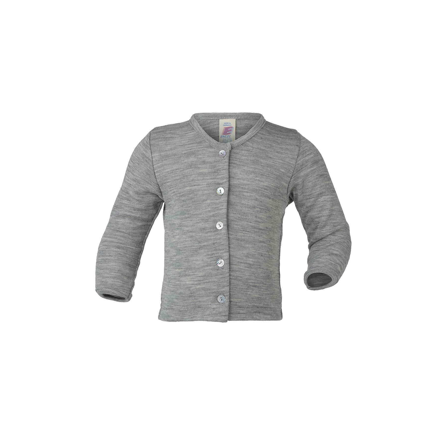 1b0bff57 Cardigan i økologisk uld silke til barn - Perlemorsknapper - Grå - Engel