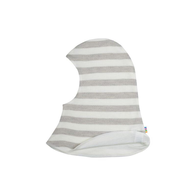 Elefanthue i 1 lag. Uld silke i hvid grå stribet Oeko-Tex uld silke fra Joha.