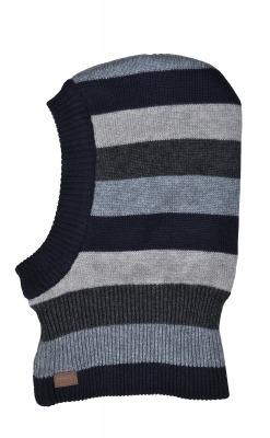Blå / grå stribet elefanthue i uld / bomuld fra Melton