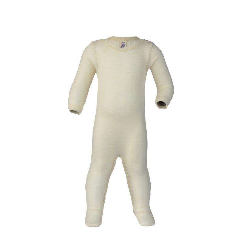 Heldragt / natdragt med fødder i ren økologisk uld/silke fra Engel - Råhvid