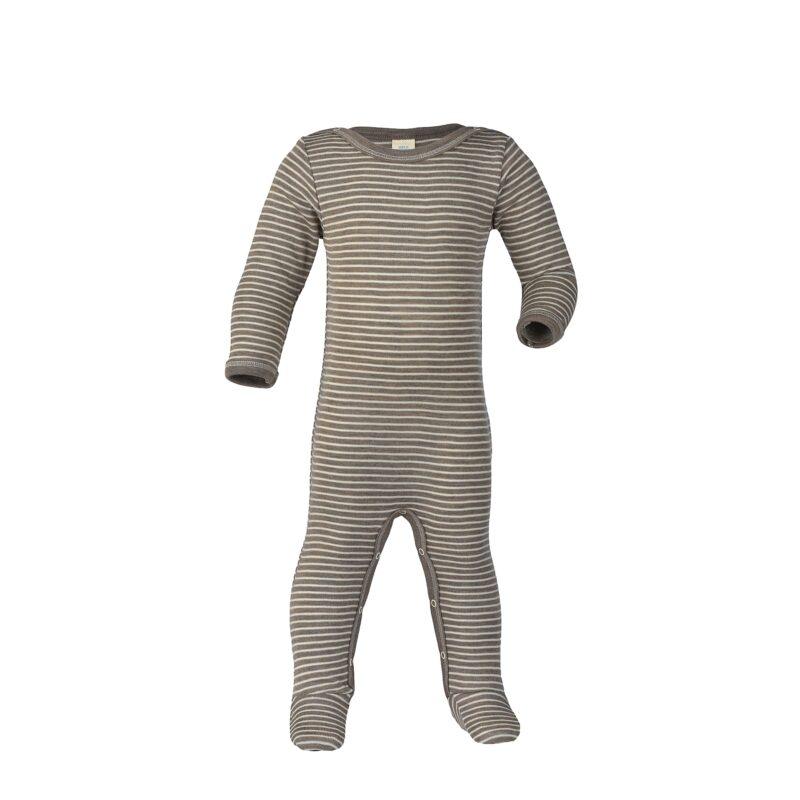 Heldragt / natdragt med fødder i ren økologisk uld og silke fra Engel - Brun med hvide striber