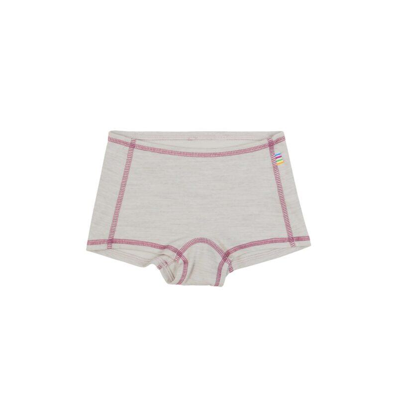 Hipster til piger i uld / bomuld fra Joha, Oeko-Tek, Sandfarvet med rosa syninger