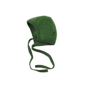 Babyhjelm i uldfleece. 100% økologisk uld. Grøn hjelm fra Engel. GOTS.
