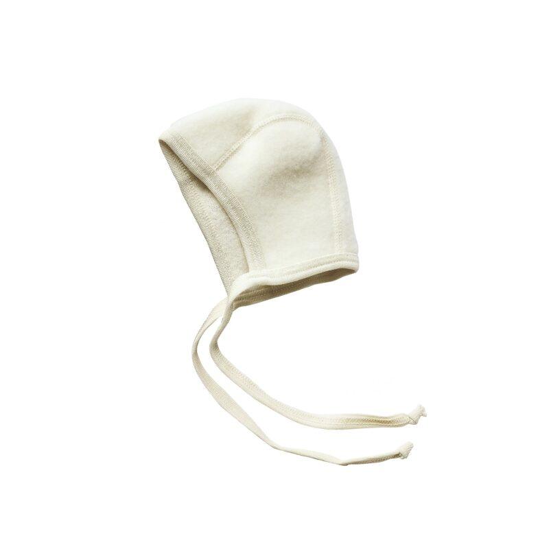 Babyhjelm i uldfleece. 100% økologisk uld. Hvid hjelm fra Engel. GOTS.