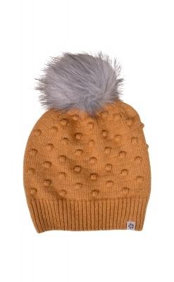 Hue med små bolde og grå pom pom i uld / bomuld fra Melton - Karry