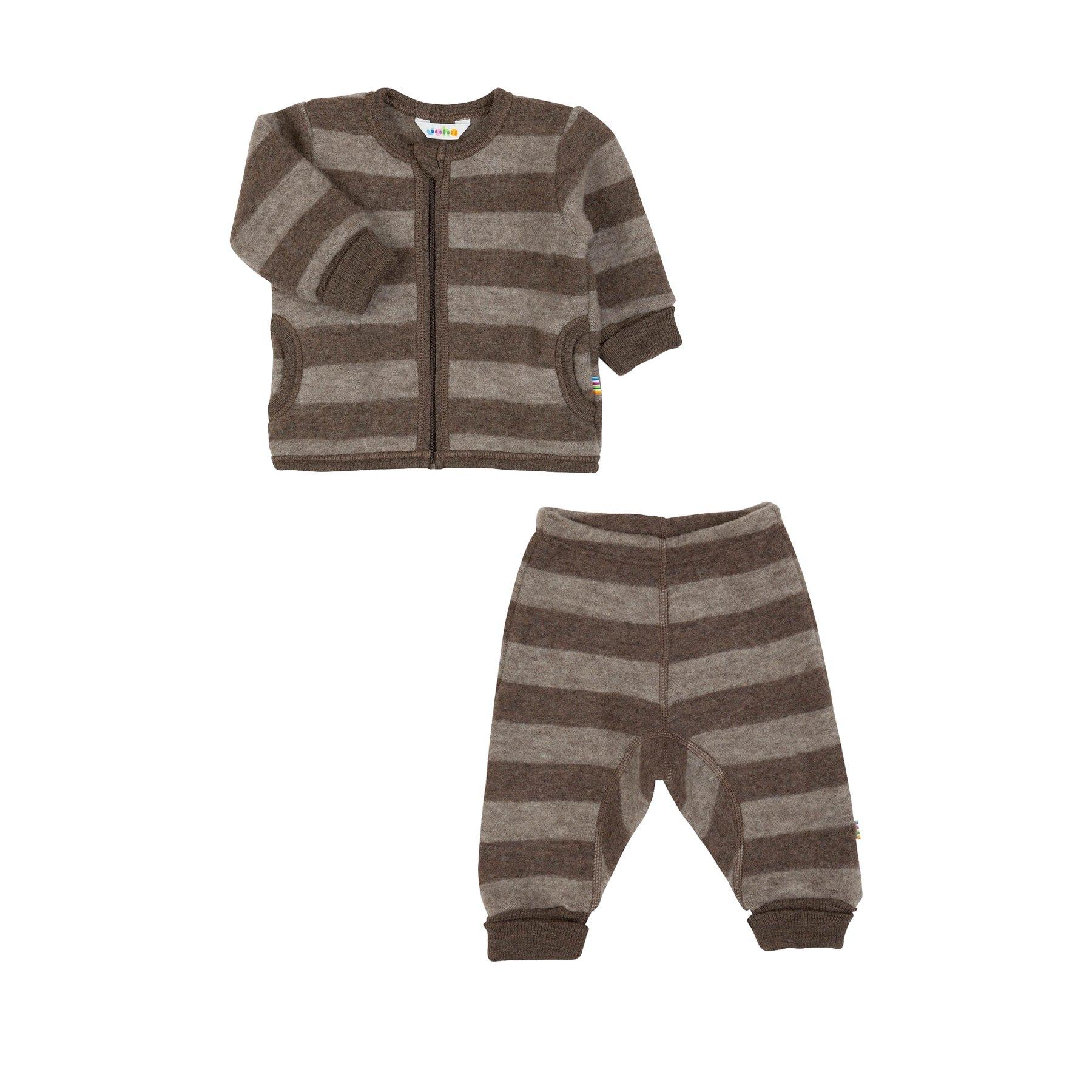 699a661b Sæt af jakke og bukser i uldfleece. Brune striber. Ret blød og varm  softuld. Tilbud