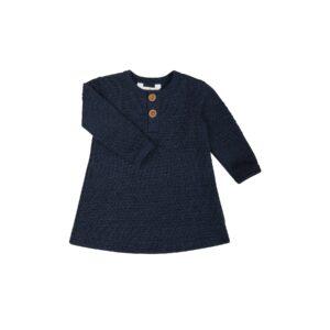 Kjole i strikket uld. Sømandsmønster. Mørkeblå uld. Joha.