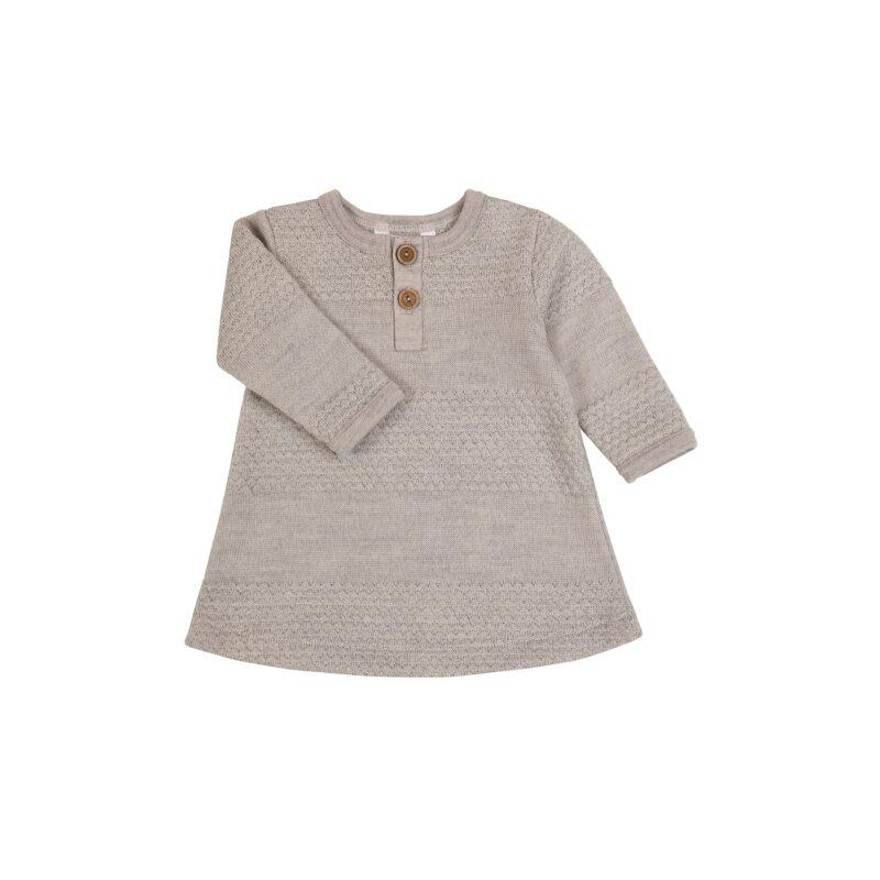 Kjole i strikket uld. Sømandsmønster. Sandfarvet uld. Joha.