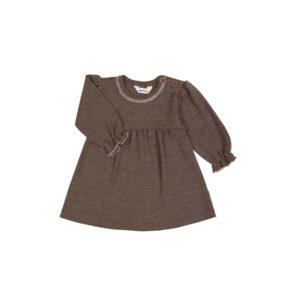 Kjole med blondekrave og flæseærmer i uld / silke - fra Joha Oeko-Tek - Brun