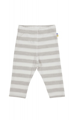 Leggings i uld / silke fra Joha - lysegrå med hvide striber