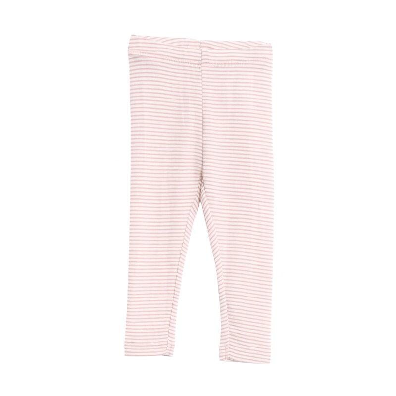 Bukser med rosa -hvide striber i 100% merinould fra Wheat