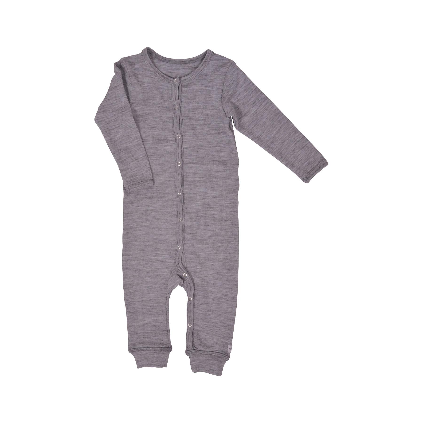 025d13d889a Natdragt i 100% merinould - Sovedragt til barn i grå uld - Mikk-Line