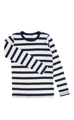 Bluse i 100% merinould fra Joha - Svanemærket - Blå med hvide striber