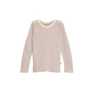 Bluse med rosa -hvide striber i 100% merinould fra Wheat
